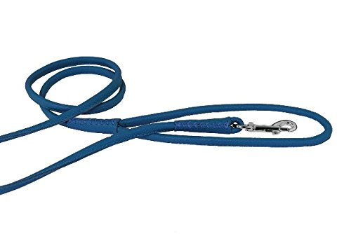Royal bluee W1 2\ Royal bluee W1 2\ Dogline Soft Padded Rolled Round Leather Leash Dogs W1 2  L72, Royal bluee