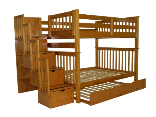 Stairway Bunk Bed Full over Full in Honey with 4 Drawers Built in to the Steps and a Full Trundle