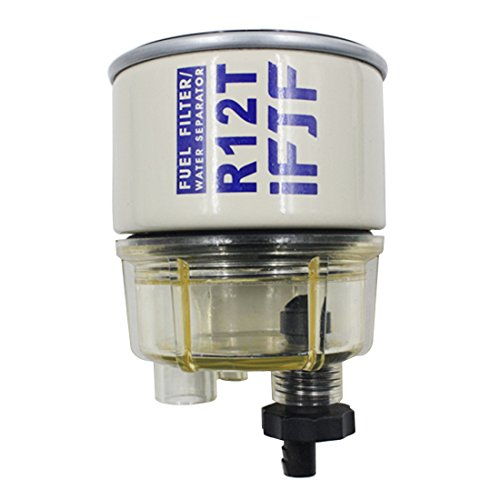 iFJF R12T Fuel Filter/Water Separator 120AT NPT ZG1/4-19 Automotive Replacement Filter and Nylon Collection Bowl Replacement Element fit Diesel Engine (Collection Diesel)