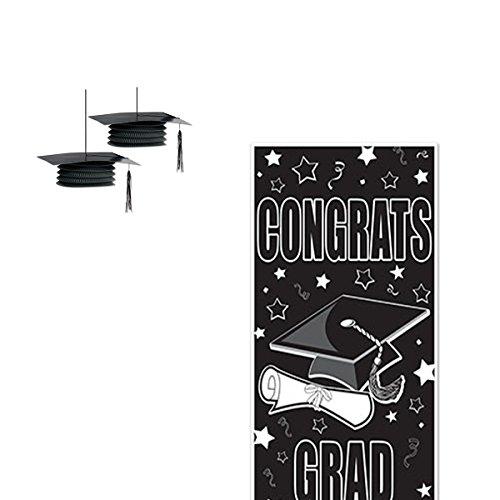 WGI Graduation Party Decor Congrats Grad Door Cover/Grad Cap Accordion Paper Lantern (Set of 2) (Cover Grad Door)