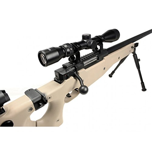 well mb08d l96 spring airsoft gun metal sniper fps-450 w/ 3-9x40 scope & bipod (tan)(Airsoft Gun)