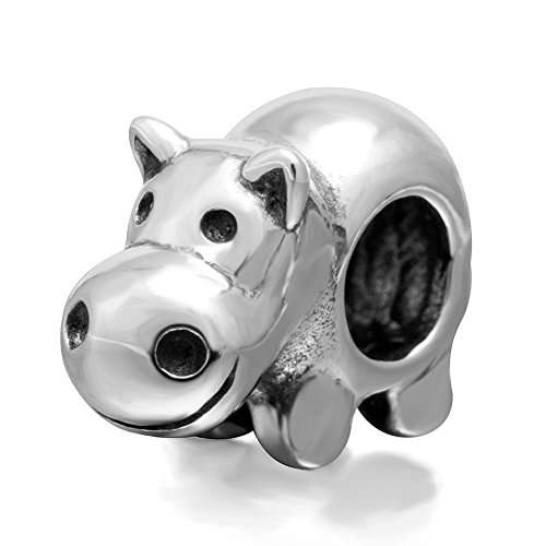 (Lucky Animals Head Charm Authentic 925 Sterling Silver Pet Charms for European Bracelet (Hippo))