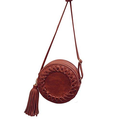 Women Small Phone for Crossbody Tassel Crossover Purse Shoulder Circular Bag Mini Brown vpvwOqHf