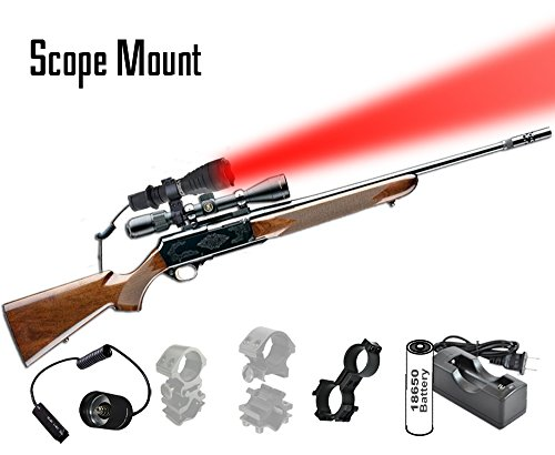 Orion Predator H30 Red 273 yards Long Range Rechargeable Coyote Fox Varmint Night Hunting Light Flashlight with Scope mount, Rail Mount, Barrel Mount, Remote Pressure Switch & Charger Kit
