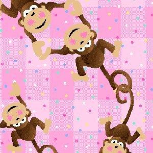 - Premium Anti-Pill Monkey Plaid Pink Fleece B156
