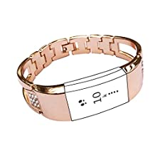 Replacement Bands for Fitbit Charge 2, Premium Diamond Wristband Metal Bracelet Bands for Fitbit Charge 2 /Fitbit Charge 2 Bands,Watch Replacement Accessories Bands (Rose Gold)