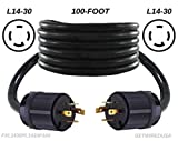 getwiredusa 100FT L14-30P Twist Lock Generator Male 4-Pin Plug Cord Adapter, Transfer Switch Connector Cable FXL1430PL1430P-100
