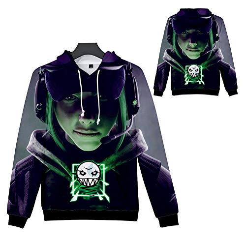 weiwei Unisex Fashion 3D Digital Rainbow Six Pullover Hooded Hoodie Men's Athletic Casual Sweatshirt with Pockets,XL