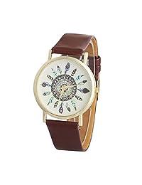Willtoo(TM) Vintage Luxury Dial Band Analog Unique Quartz Wrist Watch for Women (brown)