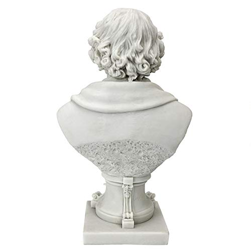 Design Toscano WU76926 William Shakespeare 1564-1616 Bonded Marble Resin Sculptural Bust, Medium, White