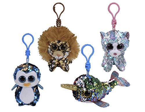 TY Stuffed Animals Beanie Boo Clips Keychains Plush Toys Bundle Set Plus ONE Bonus Animal Puzzle Eraser (Regal's Buddies)