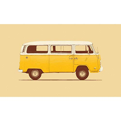 My Wonderful Walls Yellow Volkswagen Bus Wall Sticker Decal by Florent Bodart, Large, Yellow/Black/White from My Wonderful Walls