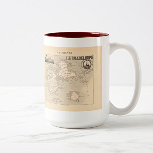 2 Tone Cartouche (Zazzle 1858 Map Of Guadeloupe Department, France Beer Stein, Maroon Two-Tone Mug 15 oz)