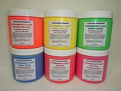 Fluorescent Black Light Reactive Paint 16oz (6 Color Pack)