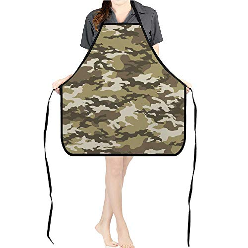Jiahong Pan Men and Women Kitchen Apron Fashionable Camouflage Military Print Wallpaper for Cooking, Baking, Crafting, Gardening, ()