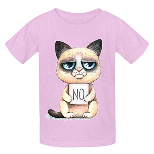 Grumpy Cat No Kid's Crew Neck Cotton Tees Pink