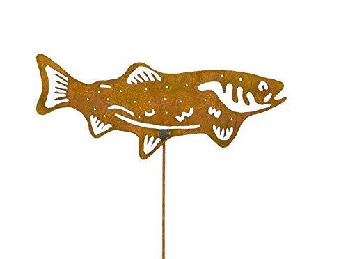 Salmon Decorative Metal Garden Stake, Lawn/Yard Art - Metal Fish Sculpture