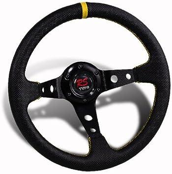 320MM Blue PVC Black Caron Look 6-Hole Steering Wheel JDM Horn Hub Adapter
