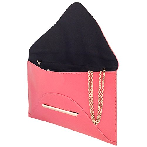 Envelope Patent Candy Coral Faux Leather Clutch Bag q4zxtwEna