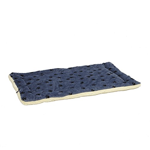 Reversible Paw Print Pet Bed in Blue / White, Dog Bed Measures 52L x 34W x 3.8H for Giant Breed Dogs, Machine ()