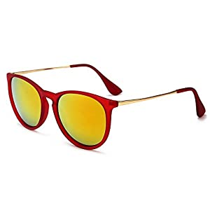 SUNGAIT Vintage Round Sunglasses for Women Erika Retro Style (Red Frame/Tangerine Lens) 1567 HOKJH