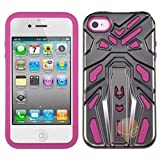 MYBAT Iron Grey Plating/Hot Pink Zenobots Hybrid Protector Cover Compatible With Apple iPhone 4S/4