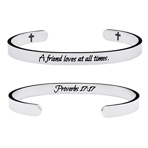 Yiyang Friendship Bracelets Chirstian Jewelry Positive Cuff Bangle Memorial Gift Proverb Engraved A Friend Loves at All Times by Yiyang (Image #6)