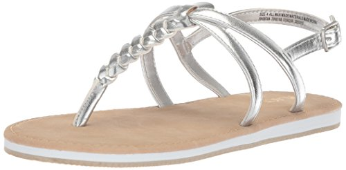 The Children's Place Girls' E BG Braided SS Flat Sandal, Silver, Youth 1 Medium US Big Kid