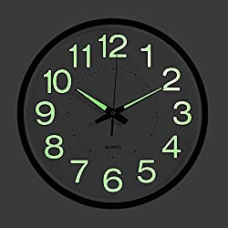 OCEST Wall Clock, 10 Inch Silent Non-Ticking Quartz Wall Clock with Night Light Large Display Battery Operated for Indoor Outdoor Kitchen Office Patio Pool Bathroom Living Room