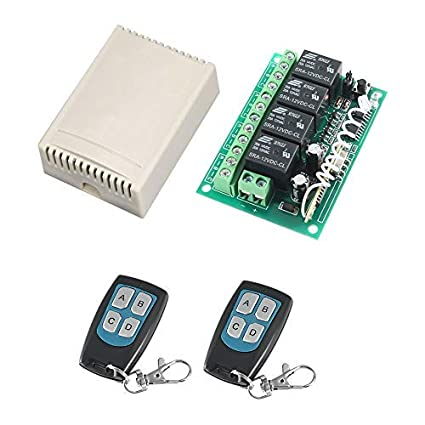 MELIFE 433Mhz RF Switch Long Range DC 12V 4-Channel Wireless Remote Control  Switch 2 Transmitter & 1 Receiver for Garage Door Openers, Cars, LED