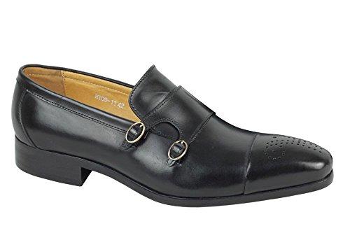 Herren echt Leder, Schwarz/poliert-Strap Monk Vintage Office Smart Schuhe