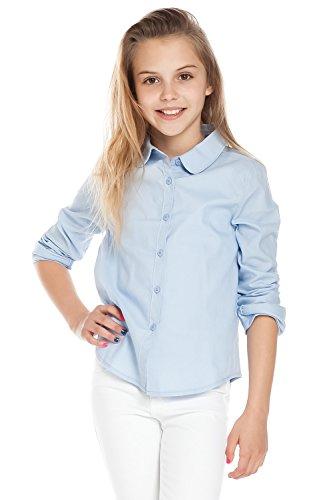 Collar Uniform (Chelsea Apparel- Girls School Uniforms Peter Pan Collar Button Down Shirt Top MT1869, Light Blue,)