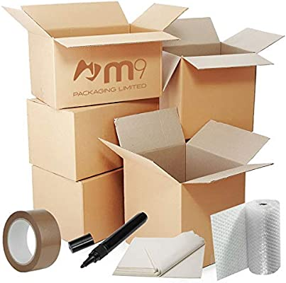 Moving Kit Pack 1-2 Bedroom House Strong Brown Tape Black Marker Pen FREE NEXT WORKING DAY DELIVERY Large Roll of Bubble Wrap 26 Strong Packing Cardboard Removal Boxes