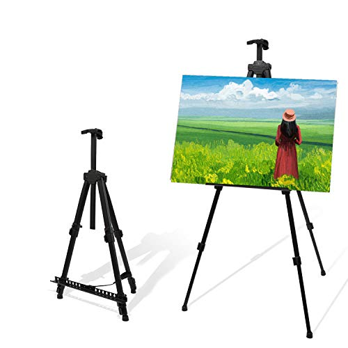 "56"" Easel Stand for Painting Drawing Display, 17"" to 56"" Adjustable Aluminum Easel for Table Top/Floor Black"