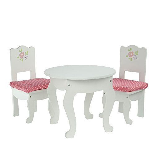 (Olivia's Little World - Princess White Table and 2 Chairs Set with Cushions | Wooden 18 inch Doll Furniture)