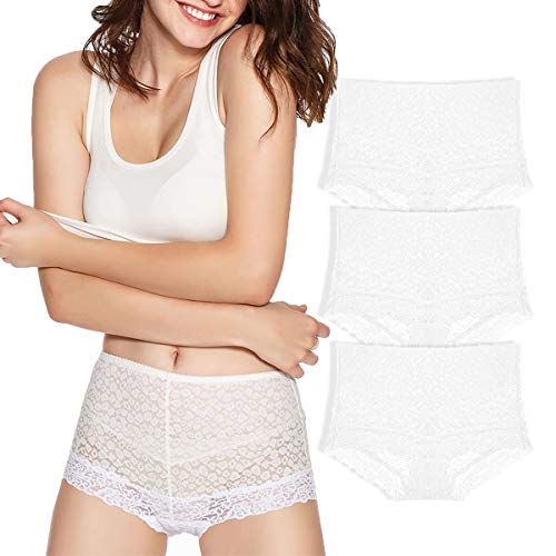 Shaper Lace - Eve's temptation 3 Pack Lily Women's High Waist Lace Panties Underwear Seamless Slimming Full Coverage Brief