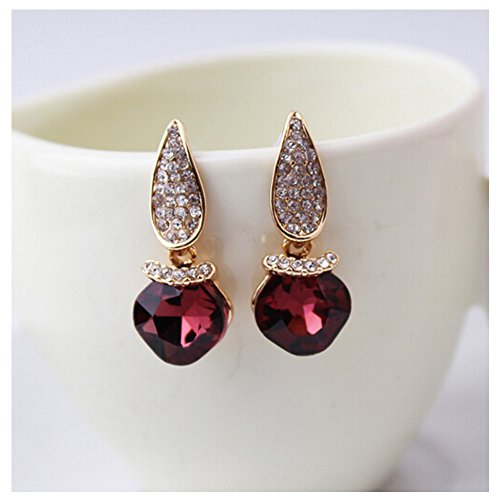 [Elakaka Women's High-Grade Austrian Crystal Geometry Earrings(Red)] (Primark Halloween Costumes Uk)