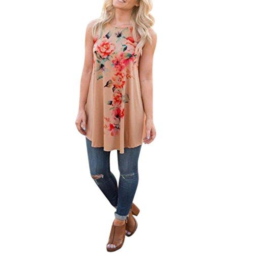 Blackobe Fashion Women Summer Sleeveless Floral Printed Shirt T-shirt Blouse Top Tank (XL, Khaki)