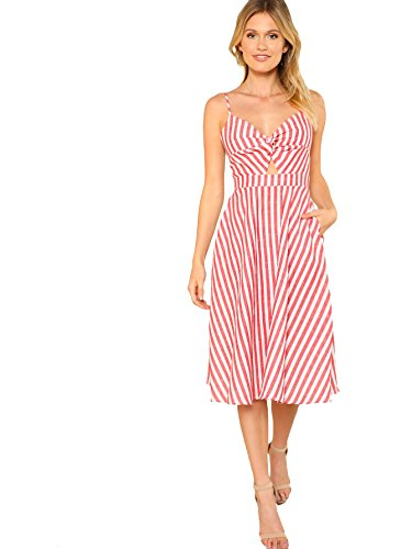 (Floerns Women's Twist Front Knot Back Bow Cami Skater Dress Red and White L)