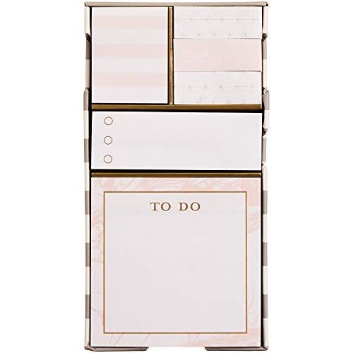 Sticky Notes Set - C.R. Gibson 'Sweet Pink' Sticky Note Stationery Set Desk Accessory, 600pc.