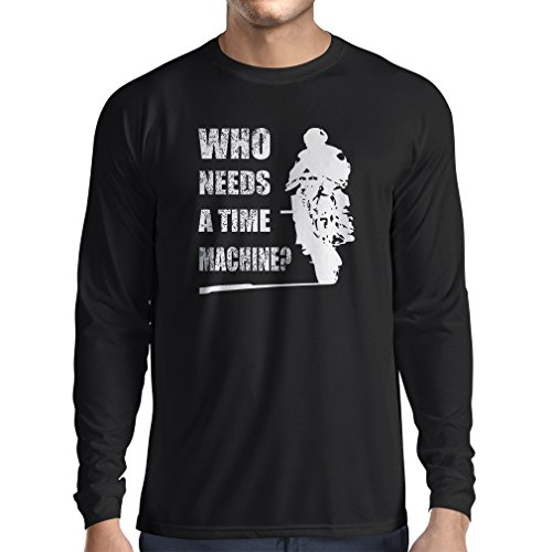 Outlaw Open Face (Long sleeve t shirt men My time machine! Motorcycle apparel motorcycle art suits (XXX-Large Black Multi)