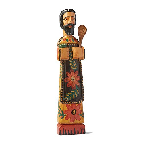 - SIGNALS Patron Saint of Cooks Wooden Sculpture - Hand Carved Fair Trade Item