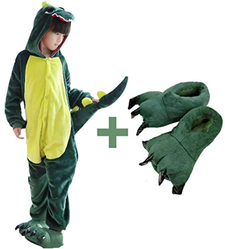 (Beskie Kids Onesie Pajamas Unisex Dragon Halloween Costume with Slipper Age 2-10)