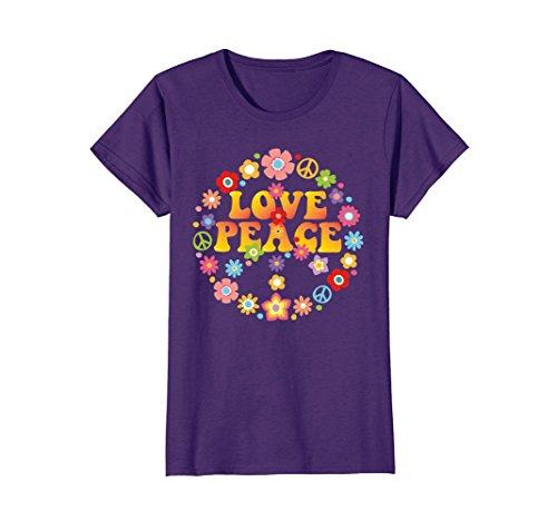 Womens PEACE SIGN LOVE T Shirt 60s 70s Tie Die Hippie Costume Shirt XL Purple