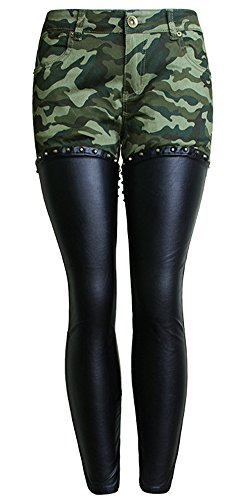 lexiart PU Leather Legs Skinny Lady Jeans,Camo Pencil Low Rise Moto Jeggings Ninth Pants Camouflage 4 6 L ¡­
