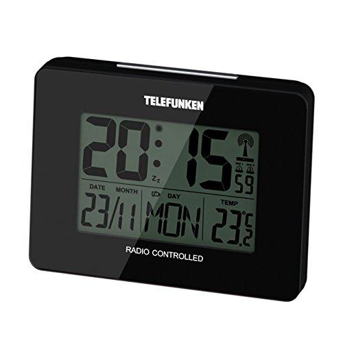 Telefunken FUD-40 DCF LCD-Funkwecker digital mit Thermometer/Temperaturanzeige und Kalender autom. Zeitumstellung (schwarz)