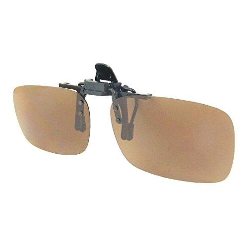 TOOGOO(R) Unisex Dark Brown Rectangle Flip Up Clip On Polarized - Sunglasses Edgars
