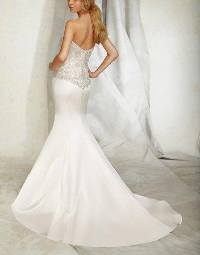 Tüll Brautkleider Kapelle Elfenbein V Damen Kleidungen Ausschnitt Schleppe Meerjungfrau Dearta TWx8OqUw0z