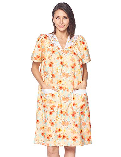Casual Nights Women's Snap Front House Dress Short Sleeve Woven Housecoat Duster Lounger Robe, Floral Peach, Large