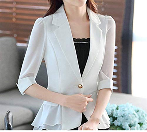 Manica Cucitura Leisure Casuale Button 4 3 Slim Bavero Ovest Chiffon Donne Donna Monocromo Bianca Confortevole Suit Primaverile Fit Outwear Battercake Cappotto WE29YHeDI